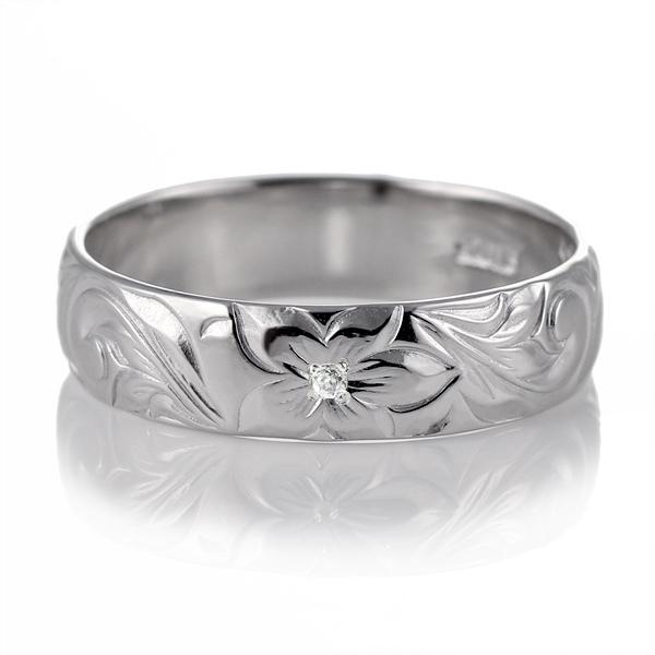 ハワイアンジュエリー 結婚指輪 ペアリング プラチナ ダイヤモンド 刻印無料 幅5mm スクロール 指輪 マリッジリング メンズ レディース