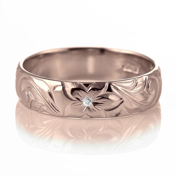 ハワイアンジュエリー 結婚指輪 ペアリング ダイヤモンド 刻印無料 k18 ピンクゴールド 18金 幅5mm ペアリング スクロール 指輪 マリッジリング メンズ レディース 末広 スーパーSALE