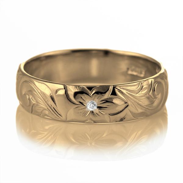 ハワイアンジュエリー 結婚指輪 ペアリング ダイヤモンド 刻印無料 k18 イエローゴールド 18金 幅5mm ペアリング スクロール 指輪 マリッジリング メンズ レディース 末広 スーパーSALE【今だけ代引手数料無料】