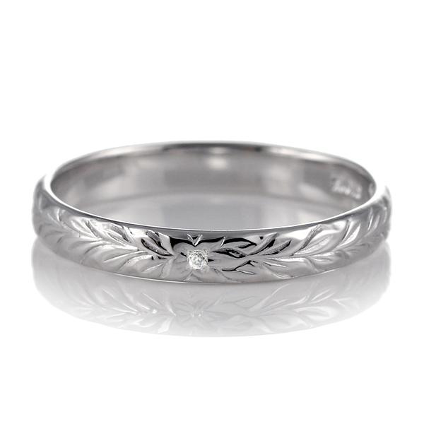 ハワイアンジュエリー 結婚指輪 ペアリング プラチナ ダイヤモンド 刻印無料 幅3mm マイレ 指輪 マリッジリング メンズ レディース