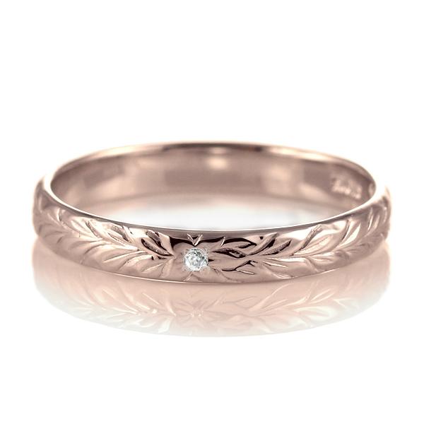 ハワイアンジュエリー 結婚指輪 ペアリング ダイヤモンド 刻印無料 k18 ピンクゴールド 18金 幅3mm ペアリング マイレ 指輪 マリッジリング メンズ レディース 末広 スーパーSALE