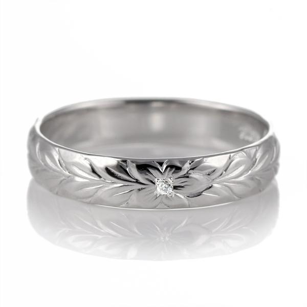 ハワイアンジュエリー ペアリング シルバー ダイヤモンド 刻印無料 マイレ 幅4mm 指輪 マリッジリング 刻印無料 メンズ レディース 末広 スーパーSALE