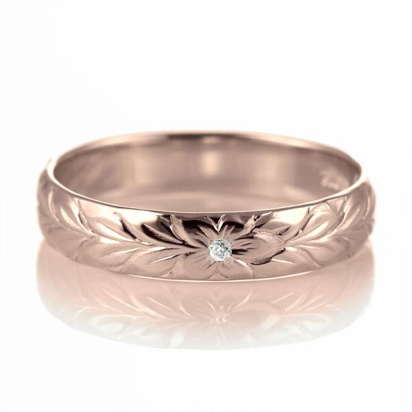 ハワイアンジュエリー 結婚指輪 ペアリング ダイヤモンド 刻印無料 k18 ピンクゴールド 18金 幅4mm ペアリング マイレ 指輪 マリッジリング メンズ レディース 末広 スーパーSALE