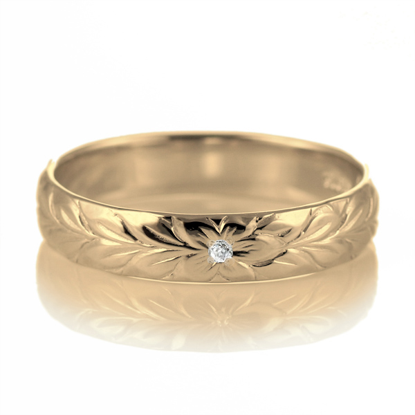 ハワイアンジュエリー 結婚指輪 ペアリング ダイヤモンド 刻印無料 k18 イエローゴールド 18金 幅4mm ペアリング マイレ 指輪 マリッジリング メンズ レディース