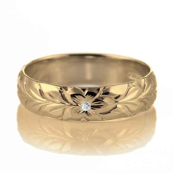 ハワイアンジュエリー 結婚指輪 ペアリング ダイヤモンド 刻印無料 k18 イエローゴールド 18金 幅5mm ペアリング マイレ 指輪 マリッジリング メンズ レディース