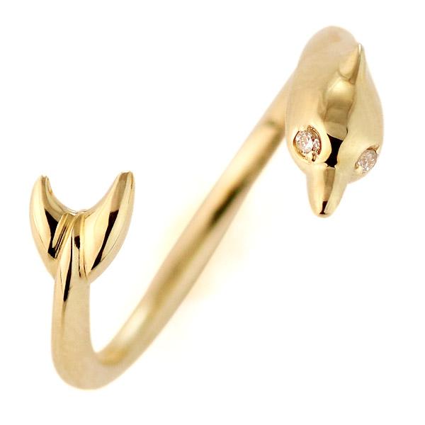 ダイヤモンド リング 指輪 ピンキーリング イエローゴールド ダイヤモンドリング イルカ モチーフ レディース おすすめ 人気