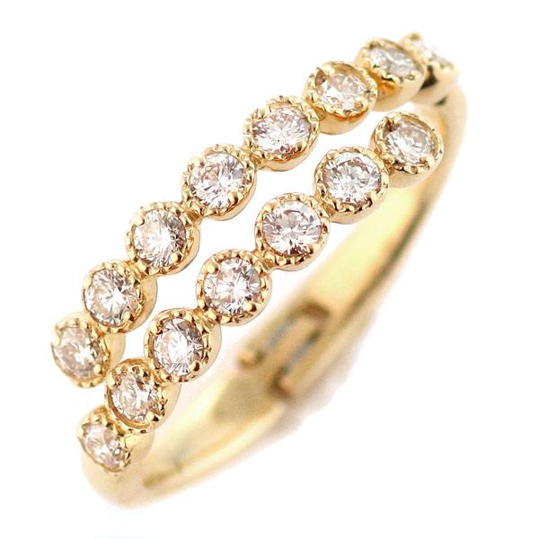 ダイヤモンド リング 指輪 ピンキーリング イエローゴールド 18金 K18 18k ダイヤモンドリング レディース おすすめ 人気