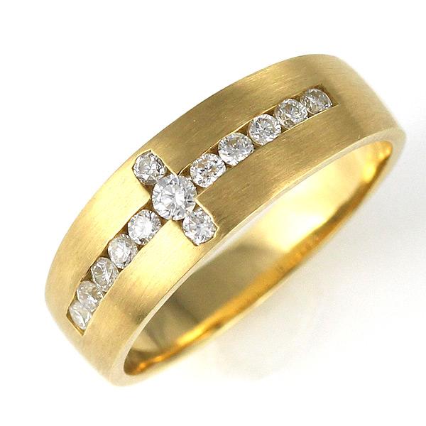 メンズ ダイヤモンド リング 指輪 イエローゴールド 18金 K18 18k クロス ダイヤ 0.27カラット プレゼント 人気【DEAL】