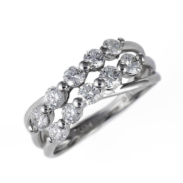 ダイヤモンドリング 1ct 1カラット 2連 プラチナ 指輪 プラチナ 10石 10粒 結婚記念 結婚10周年 退職記念 サプライズ ギフト プレゼント 鑑別書付