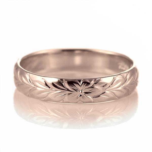 ハワイアンジュエリー メンズ リング 人気 ピンクゴールド 18金 K18 18k 幅約4mm 指輪 ファッション デザイン マイレ【DEAL】