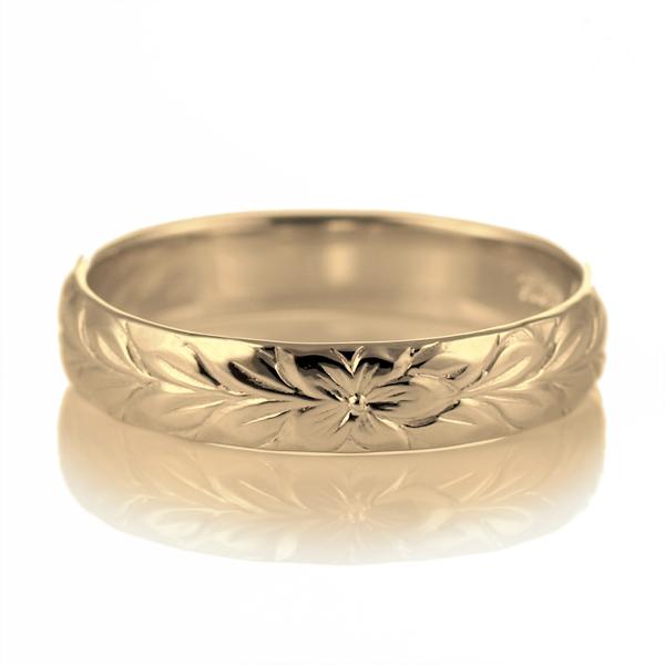 ハワイアンジュエリー メンズ リング 人気 ゴールド 18金 K18 18k 幅約4mm 指輪 ファッション デザイン マイレ【DEAL】