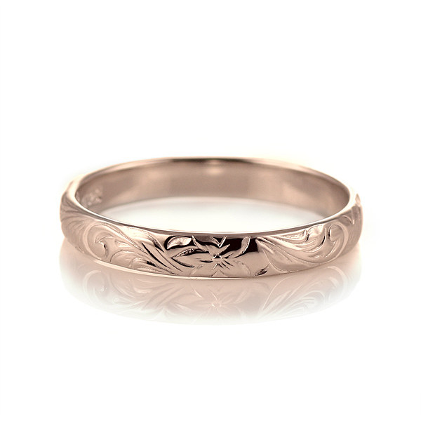 ハワイアンジュエリー メンズ リング 人気 ピンクゴールド 18金 K18 18k 幅約3mm 指輪 ファッション デザイン スクロール 末広 スーパーSALE