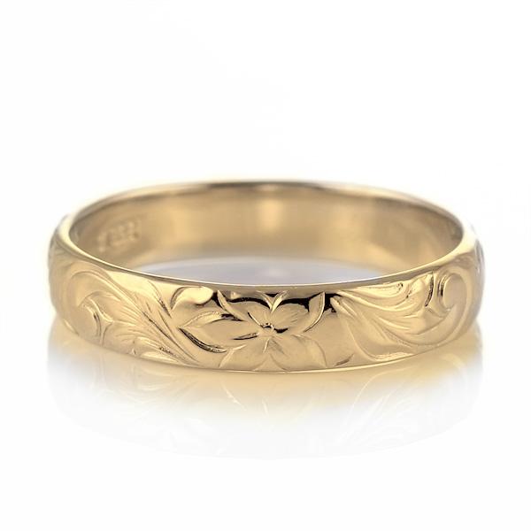 ハワイアンジュエリー メンズ リング 人気 ゴールド 18金 K18 18k 幅約4mm 指輪 ファッション デザイン スクロール【DEAL】 末広 スーパーSALE