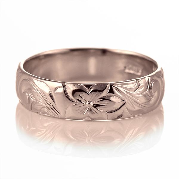ハワイアンジュエリー メンズ リング 人気 ピンクゴールド 18金 K18 18k 幅約5mm 指輪 ファッション デザイン スクロール【DEAL】
