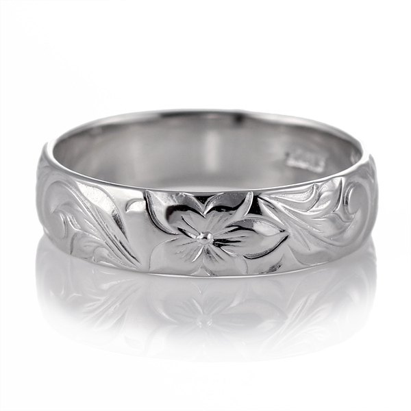 ハワイアンジュエリー メンズ リング 人気 ホワイトゴールド 18金 K18 18k 幅約5mm 指輪 ファッション デザイン スクロール【DEAL】