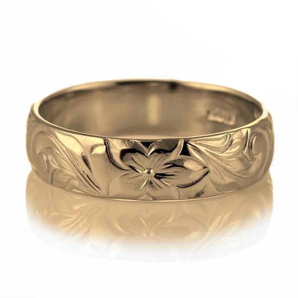 ハワイアンジュエリー メンズ リング 人気 ゴールド 18金 K18 18k 幅約5mm 指輪 ファッション デザイン スクロール【DEAL】