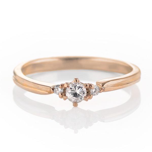 ダイヤモンド リング 婚約指輪 K18ピンクゴールド エンゲージリング 一粒 ストレート 末広 スーパーSALE