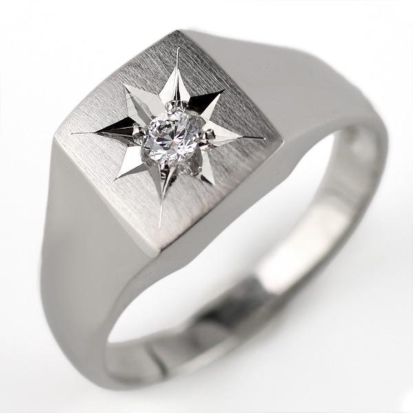 メンズ 印台リング 指輪 ダイヤモンド 0.10ct 一粒 プラチナ リング 男性用【DEAL】