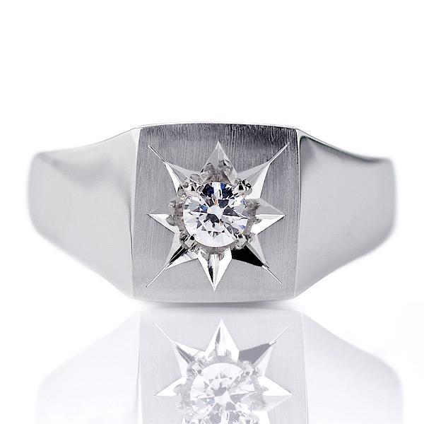 メンズ 印台リング 指輪 ダイヤモンド 0.20ct 一粒 K18ホワイトゴールド リング 男性用【DEAL】
