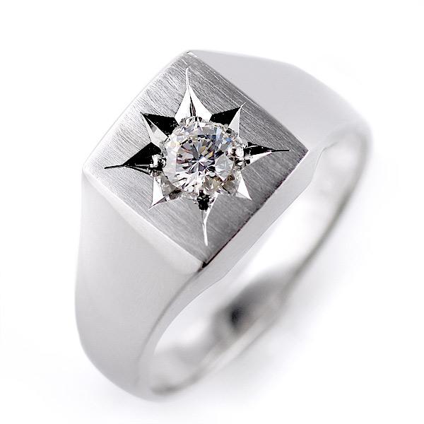 レディース 印台リング 指輪 ダイヤモンド 0.30ct 一粒 K18ホワイトゴールド リング 女性用【DEAL】 末広 スーパーSALE