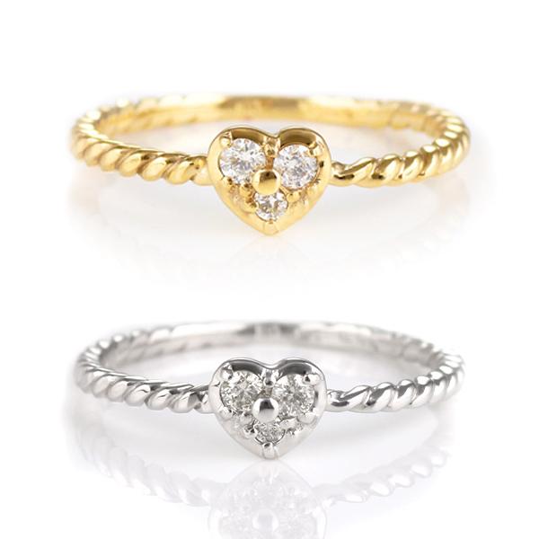 ピンキーリング 指輪 ハート ダイヤモンド K10WG K10YG ゴールド 天然ダイヤ デイリー カジュアル