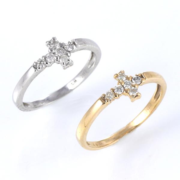 ピンキーリング 指輪 クロス ダイヤモンド K10WG K10YG ゴールド 天然ダイヤ デイリー カジュアル