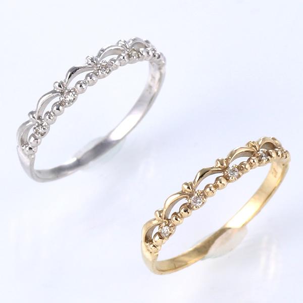 ピンキーリング 指輪 ダイヤモンド K10WG K10YG ゴールド 天然ダイヤ デイリー カジュアル