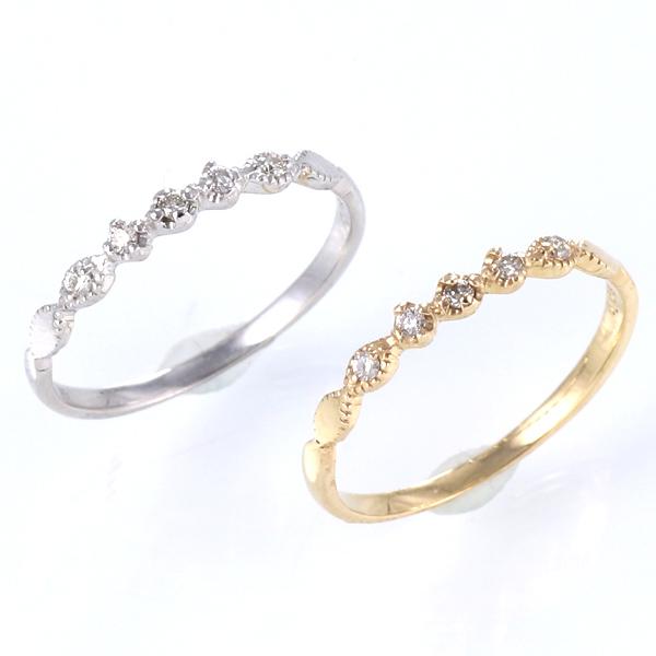 ピンキーリング 指輪 ダイヤモンド K10WG K10YG ゴールド 天然ダイヤ デイリー カジュアル【DEAL】