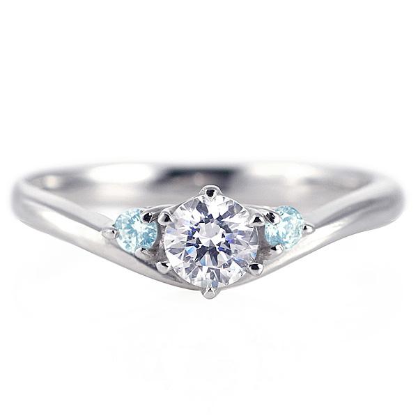 婚約指輪 ダイヤモンド プラチナリング 一粒 大粒 指輪 エンゲージリング 0.4ct プロポーズ用 レディース 人気 ダイヤ 刻印無料 3月 誕生石 アクアマリン