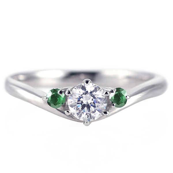 婚約指輪 ダイヤモンド プラチナリング 一粒 大粒 指輪 エンゲージリング 0.4ct プロポーズ用 レディース 人気 ダイヤ 刻印無料 5月 誕生石 エメラルド