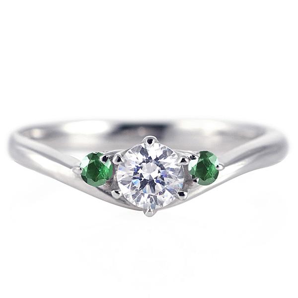 婚約指輪 ダイヤモンド プラチナリング 一粒 大粒 指輪 エンゲージリング 0.5ct プロポーズ用 レディース 人気 ダイヤ 刻印無料 5月 誕生石 エメラルド