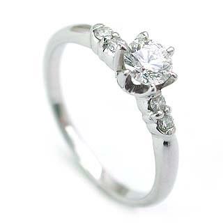 エンゲージリング 婚約指輪 ダイヤモンド ダイヤ プラチナ リング メレ 0.33ct