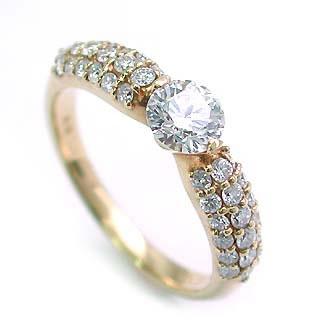 パヴェ AneCan掲載 (Brand アニーベル) K18ダイヤモンドデザインリング(婚約指輪・エンゲージリング) メレ 末広 スーパーSALE【今だけ代引手数料無料】