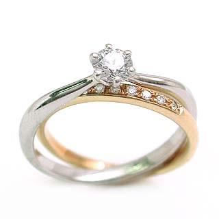 リボン (Brand アニーベル) PtK18ダイヤモンドリング(婚約指輪・エンゲージリング)