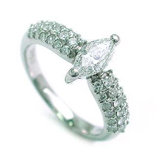 パヴェ (Brand アニーベル) Pt マーキースダイヤリング(婚約指輪・エンゲージリング) 末広 スーパーSALE