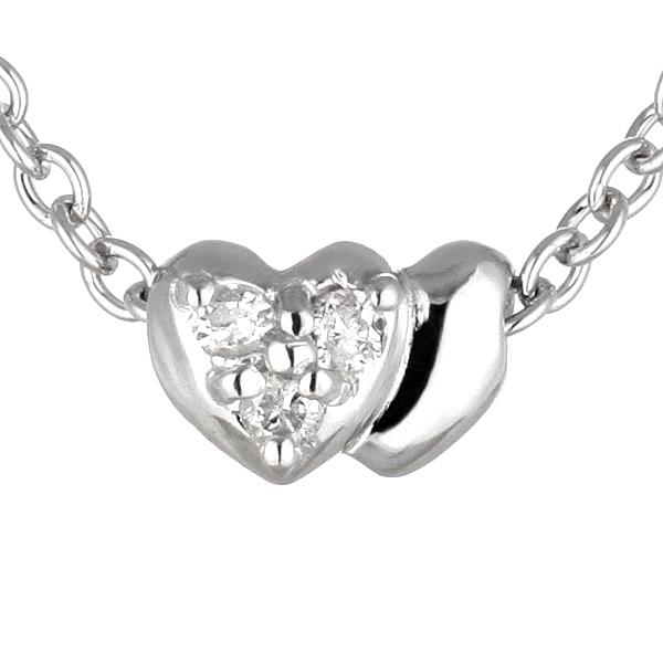 ダイヤモンドネックレス ハート 二連ハート 可愛い ギフト プレゼント