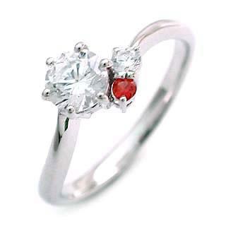 CanCam掲載( 1月誕生石リング ) ガーネット Ptダイヤリング(婚約指輪・エンゲージリング)
