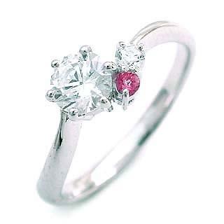 10月誕生石 CanCam掲載ピンクトルマリン Ptダイヤリング(婚約指輪・エンゲージリング)