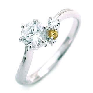 エンゲージリング 婚約指輪 ダイヤモンド ダイヤ プラチナ リング シトリン 0.33ct
