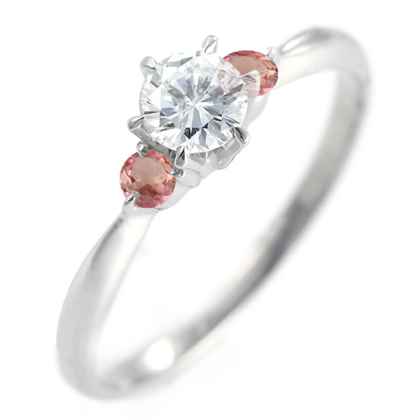 10月誕生石 ( 10月誕生石リング ) ピンクトルマリン Ptダイヤリング(婚約指輪・エンゲージリング)