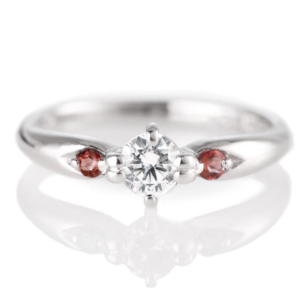 婚約指輪(エンゲージリング)( 1月誕生石 ) ガーネット プラチナ ダイヤモンドリング(ラウンドブリリアント)