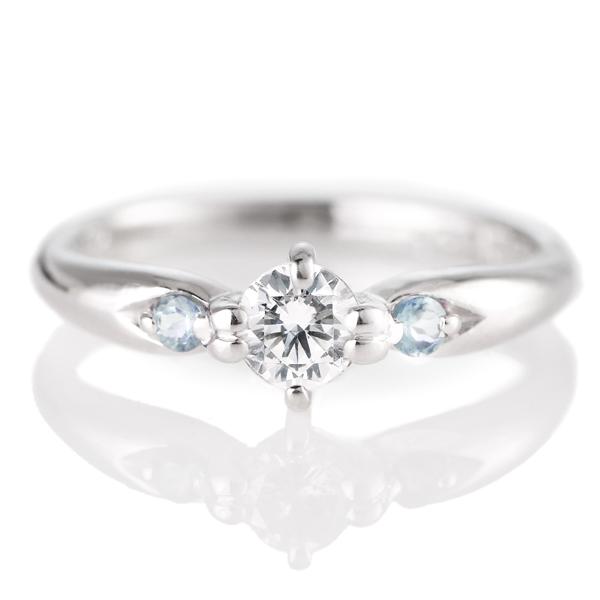 婚約指輪(エンゲージリング)( 3月誕生石 ) アクアマリン プラチナ ダイヤモンドリング(ラウンドブリリアント)
