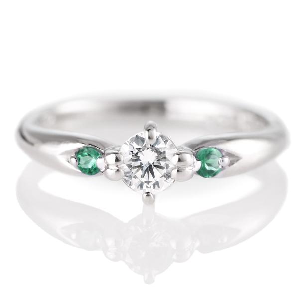婚約指輪(エンゲージリング)( 5月誕生石 ) エメラルド プラチナ ダイヤモンドリング(ラウンドブリリアント)