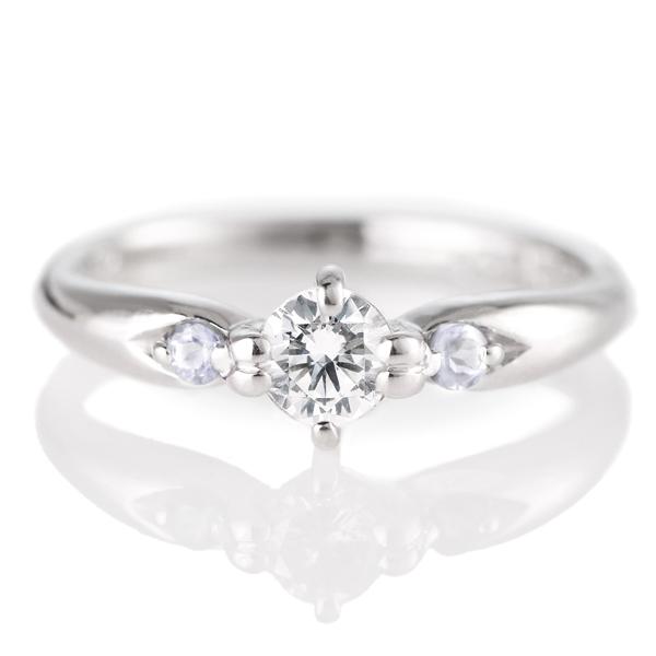 婚約指輪(エンゲージリング)( 6月誕生石 ) ムーンストーン プラチナ ダイヤモンドリング(ラウンドブリリアント)