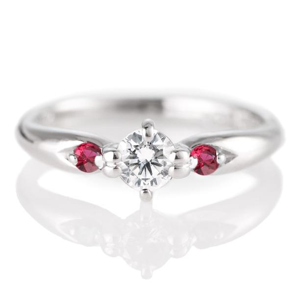 婚約指輪(エンゲージリング)( 7月誕生石 ) ルビー プラチナ ダイヤモンドリング(ラウンドブリリアント)
