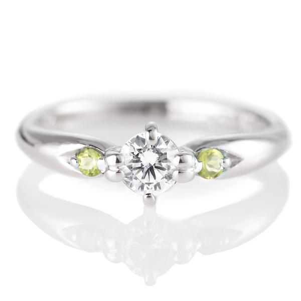 婚約指輪(エンゲージリング)( 8月誕生石 ) ペリドット プラチナ ダイヤモンドリング(ラウンドブリリアント)