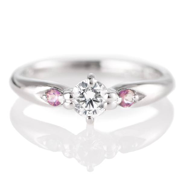 10月誕生石 婚約指輪(エンゲージリング)ピンクトルマリン プラチナ ダイヤモンドリング(ラウンドブリリアント)
