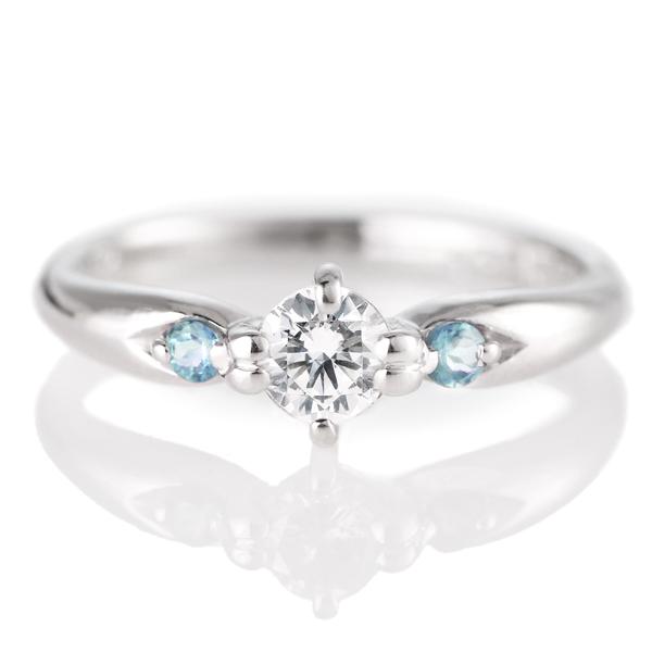 婚約指輪(エンゲージリング)( 11月誕生石 ) ブルートパーズ プラチナ ダイヤモンドリング(ラウンドブリリアント)