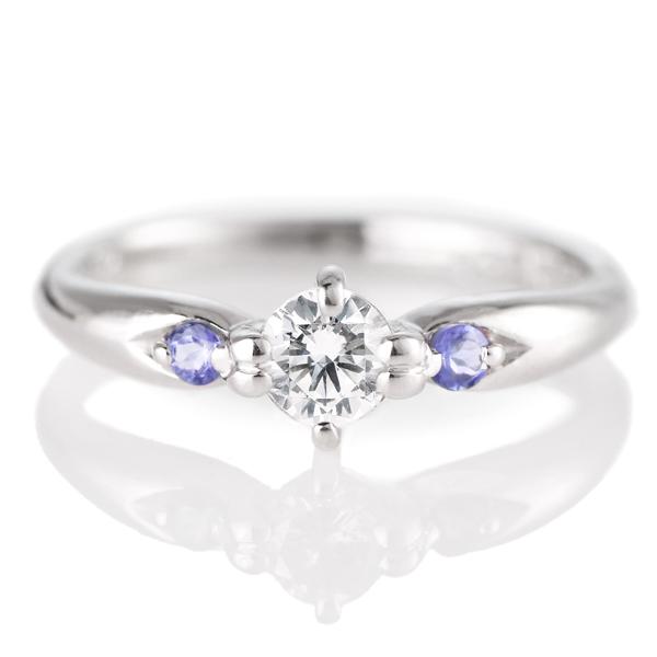 婚約指輪(エンゲージリング)( 12月誕生石 ) タンザナイト プラチナ ダイヤモンドリング(ラウンドブリリアント)