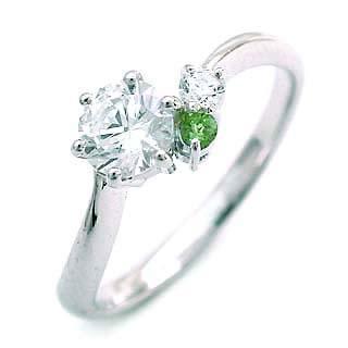 婚約指輪(エンゲージリング) ( 8月誕生石 ) ペリドット プラチナ ダイヤモンドリング(ラウンドブリリアント)